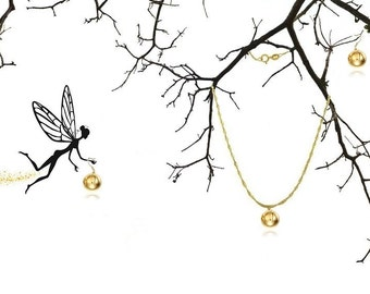 Gold Ball Pendant Necklace & Earrings Set