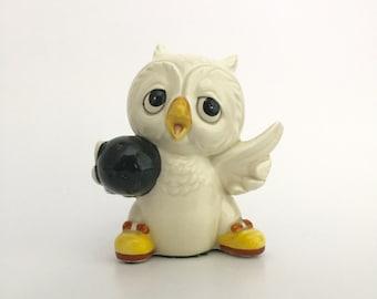 Vintage Ceramic Bowling Owl Figurine; Vintage Ceramic Owl; Owl Figurine; White Ceramic Owl; Ceramic Owl; Bowling Owl