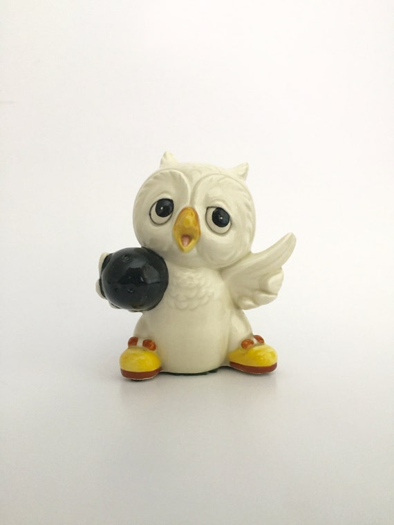 Ceramic Bowling Owl Figurine Vintage Ceramic Owl Owl