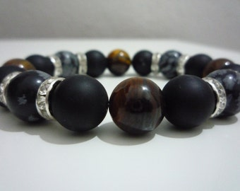 Snowflake Obsidian bracelet, Onyx sawing and Tiger's eye