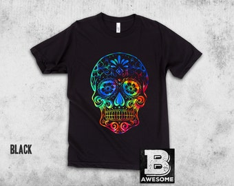 Tie Dye Sugar Skull, Day of the Dead, Tie dye tee,