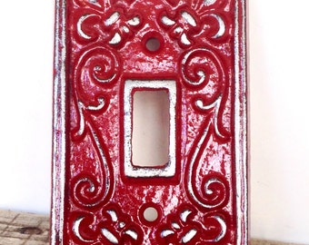 Red Light Switch Plate - Lightswitch Cover - Red Wall Decor - Wall Accents - Light Switch Cover - Lightswitch Plate - French Country Decor