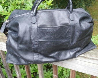 Coach Style Black Leather Duffel Bag