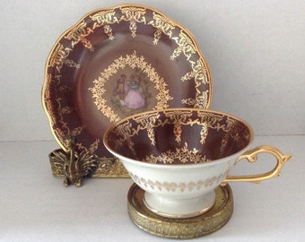 Decorative Schrvarzenhammer Germany Demitasse Cup & Saucer