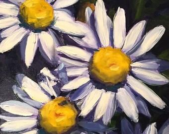daisies // original art // daisy painting // white daisy art // white flower painting // art // affordable art // flower painting