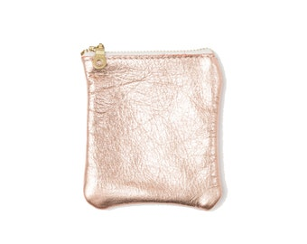 Cherry Ave - Large Rose Gold Leather Coin Purse, Copper Coin Pouch, Change Purse