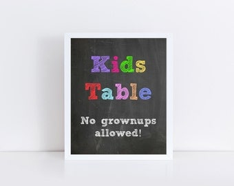 Wedding Kids Table Sign, Chalkboard Wedding, Kids Table Printable, Wedding Instant Download