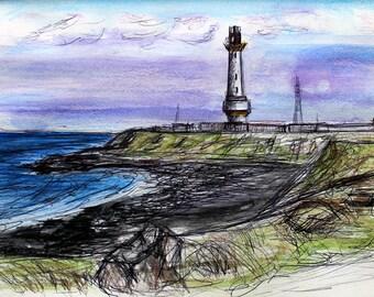 Lighthouse Watercolour Wall Art Print, Coastal Art, Lighthouse Art, Wall Art, Wall Print, Lighthouse Sketch, Scottish Art, Nautical Theme