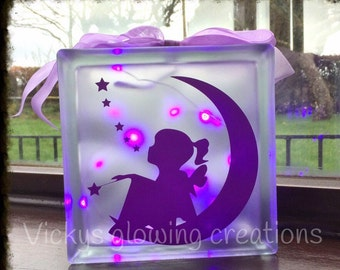 Fairy girl glass block night light, nursery decor, light up gift