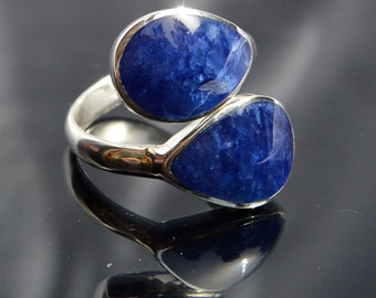 """Beautiful Peruvian blue Sodalite """"you and me"""" ring. FREE SHIPPING to continental USA"""