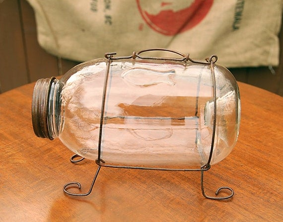 Large Glass Minnow Trap- Minnow Bucket-Antique Fishing Tackle- Vintage tackle-shabby chic-man cave-vintage fishing-antique tackle