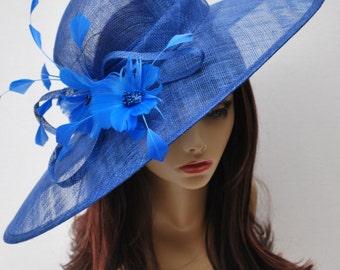 Royal Blue Derby Hat, Easter Hat, Church hat, Tea Party Hat, Blue Hat, Formal Hat, Fashion Hat, Church Hat, Derby Hat