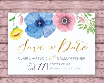 Pretty Floral Save the Date Postcard - Print At Home File or Printed Invitations - Faux Gold Floral Watercolour Save The Date Postcard