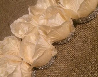 4 pack Rose Electric tea light with diamanté trim ivory petals
