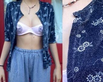 Metallic floral cardigan // iridescent // kawaii // sunflowers // 90s