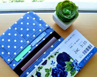 Indigo Blossom Passport Wallet, Fabric Travel Wallet, Travel Document Holder, Family Passport Holder, Gift for Her - Made to Order