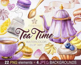 Tea Time watercolor Clip Art. purple yellow Truffle sweets, cupcake, lemon, teapot, cup, praline chocolates, macaroon dessert. 22 elements