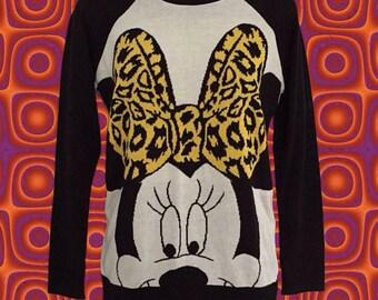 90 ' s Minnie Mouse suéter manga Raglan • • gráfico audaz de Disney las mujeres estilo Disney Fans Fans de Minnie Mouse • • • suéter de blanco y negro
