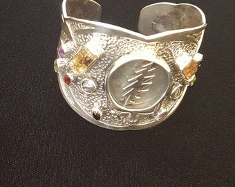 Sterling Silver  One of a Kind Steal Your Face Grateful Dead Cuff, Imperial Topaz/semi precious stones detailed with stealies Dead & Company