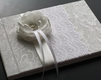 White Lace Wedding Guest Book with Handmade Satin Flower and Brooch \ Signin Journal \ Wedding Albums for Wishes \ Wishes book \ Blank Paper