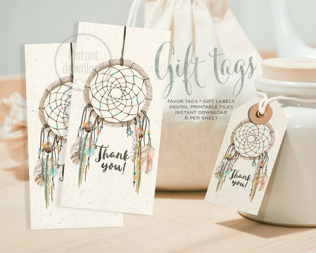 Dreamcatcher Favor Gift Tag Boho Watercolor DIGITAL Files