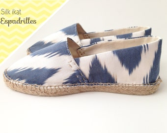 Handmade espadrilles made out of Uzbek silk ikat fabric and authentic espadrille soles handcrafted in Spain. CUSTOM MADE.