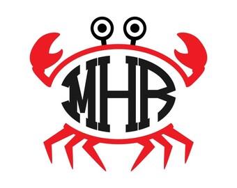 Crab Beach Frame Svg Designs monogram