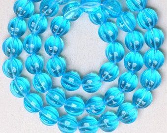 Round 12mm Melon Bead - Czech Glass Melon Beads - Various Colors Available - Qty 10