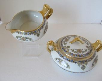 Haviland & Co Limoges ORIENTAL Creamer and Handled Sugar Bowl
