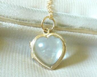 ANTIQUE Pool of Light 10k Heart Locket | Rock Crystal Heart Locket | Pool of Light Heart Locket | 10k Gold Heart Locket |