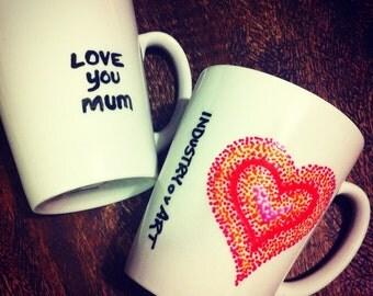 For Mum...Heart/Love You Mum - Art on a Mug