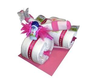 Diaper cake motorcycle diaper bike gift box baptism diaper cake
