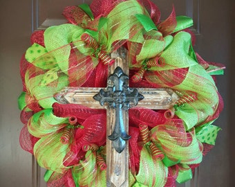 Cross Mesh & Burlap Wreath with lots of ribbon accents!