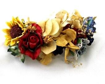 flower,barrette,clip,dried,flowers,seeds,roses,blue,navy,sunflower,yellow,cream,mustard,red,boho,fairy,wild