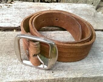 Vintage Genuine Leather Belt, Adjustable Belt, Brown Belt with Silver Tone Buckle from 1970s