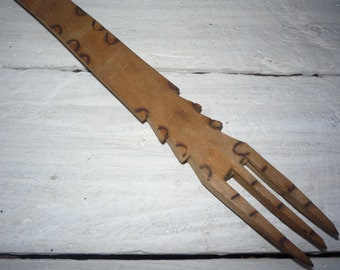 Antique Handmade Wooden Fork from 1960s, Rustic Kitchen Decor