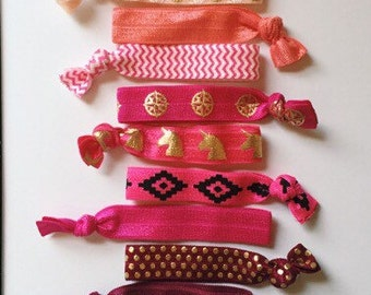 Jumbo Pink Hair Tie Set