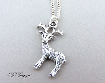 Silver Stag Necklace, Stag Pendant, Silver Charm Necklace, Silver Necklace, Childrens Necklace Trendy Necklace, Gifts for her