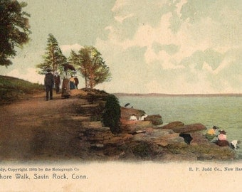 Savin Rock, Connecticut -  Sitting on the rocks and walking the Shore Walk in 1907 - Vintage Postcard