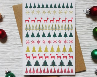 Scandi Style Pattern Christmas Card