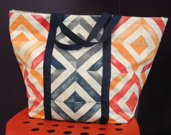 Block Printed Tote: Red, Goldenrod, Navy, and Grey Squares Pattern