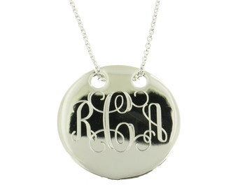 Personalized .925 Sterling Silver Round Monogram Necklace