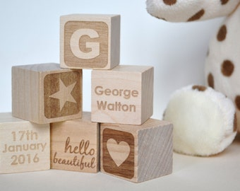 9 Personalised Baby Keepsake Building Blocks in Gift Box