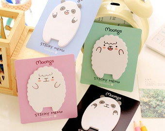 Moongs Sheep & Panda Sticky Notes / Cute Sticky Notes / Kawaii Sticky Notes / Cute Panda Sheep Sticky Notes / Stationary / Korean Stationery