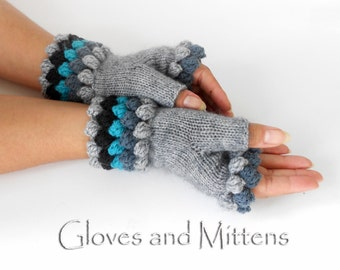 Grey Fingerless Hand Warmers, Knitted and Crocheted Girls gloves, Grey Wrist Warmers, Fall Winter Fingerless gloves, Grey Gloves