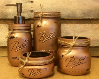 mason jar bathroom set hammered copper bathroom set rustic mason jar bath set - Bathroom Jar