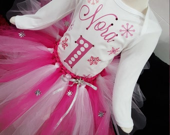 pink snowflake birthday outfit