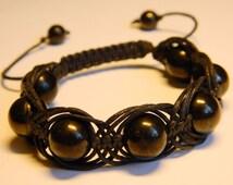 Shungite Bracelet ,macrame bracelet, natural beads bracelet