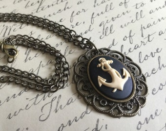 Cameo Anchor Pendant Necklace, Nautical Cameo Necklace, Anchor Cameo, Nautical Necklace