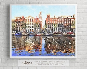 Netherlands, Amsterdam Old buildings - Aquarelle Watercolor Painting Digital Wall Art Instant Download